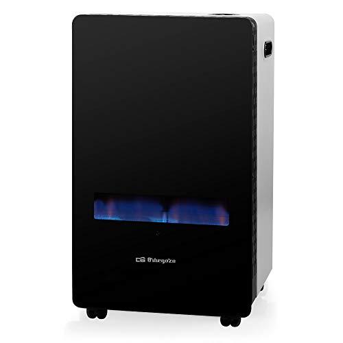 ElectrodomesticosN1 Estufa de Gas butano Orbegozo HBF 100 Llama Azul, Frontal Cristal Templado+ Regulador de Gas butano HVG, Tubo Manguera 0,8 Metros, Abrazaderas