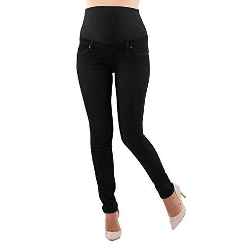 MAMAJEANS Milano - Skinny Fit Umstandsjeans, Grundlegende Jeggings Einfach Und Super Elastisch, Bequem Und Modisch Jeans für Schwangerschaft - Made in Italy (40 - L, Schwarz)