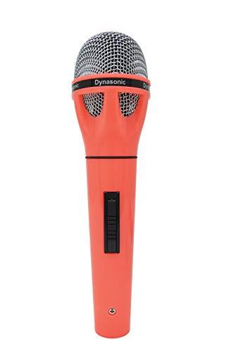 DYNASONIC Micrófono conectable para karaoke y adaptador (Rojo)