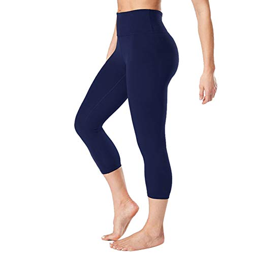 Gayhay High Waisted Capri Leggings for Women - Soft Slim Tummy Control - Exercise Pants for Running Cycling Yoga Workout (Navy Blue, Large-X-Large)