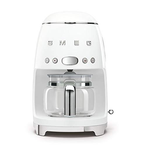 Smeg DCF02WHUK Drip Coffee Machine, 10 Cup Capacity, Auto-Start Mode, Reuseable Filter, Digital Display, Anti-Drip System, Aroma Intensity Option, 1.4 Litre Tank, White