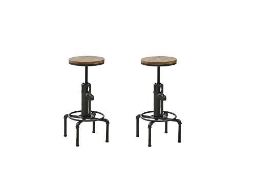 HOMEXPERTS Barstuhl Set SOLID / 2 Hocker im Industrial Design / Sitzfläche aus Bambus / Fuß Metall Schwarz / 2-er Set Barhocker / Küchen-Stühle / Stuhl-Set / 33,5x69x33,5cm (B x H x T)