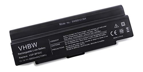 vhbw Batterie pour Ordinateur Portable Sony VAIO VGN-FJ Series, VAIO VGN-FJ66C, VAIO VGN-FJ58GP Li-ION 6600 mAh 11,1 V 73,26 Wh Noir