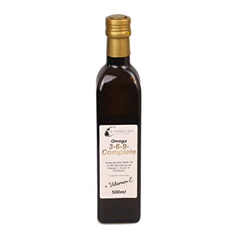 Carnivora [45,80€/L] Barf-Öl für Hunde: Omega 3 6 9 Complete Barf Öl + Vitamin E (in der Glasflasche) mit Lachsöl, Hanföl und Borretschöl (500ml Omega-3-6-9-Öl)