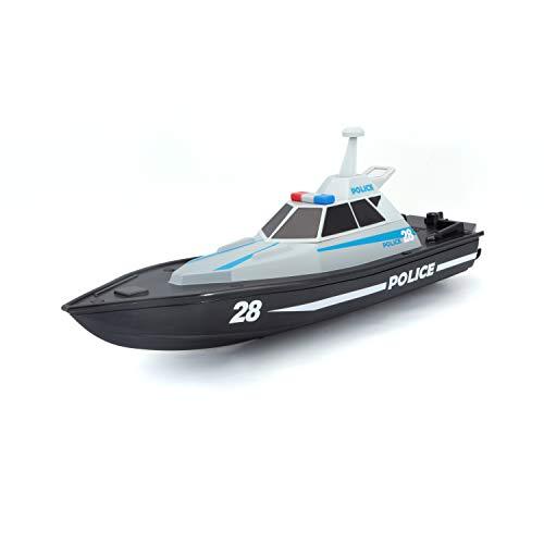 Bauer Spielwaren M82196 Tech R/C Polizeiboot: Ferngesteuertes Spielzeugboot im Polizei-Look, 35 Meter Reichweite, Akku mit USB-Ladefunktion, 34 cm, schwarz -582196