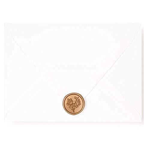 Roselei & Ivory | Self- Adhesive Wax Seals, Eucalyptus Wax Seal for Wedding Invitation Envelopes | 20 Pieces (Antique Gold)
