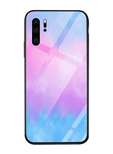 Oihxse Mode Coloré Dégradé Case Compatible pour Huawei Y6 Pro 2019/Y6 2019/Honor 8A Coque Revêtement Arrière en 9H Verre Trempé Protection Housse Mignon Silicone Bord Bumper Anti Rayures Etui