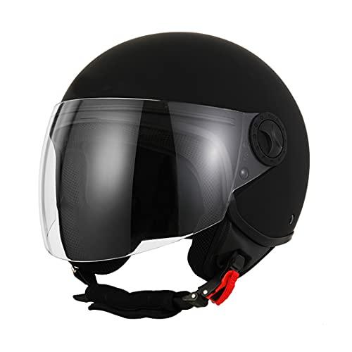 JXSMBP ECE Homologado Negro Mate con Lente Personalidad Retro Estilo Cómodo Adecuado para Skate Motocicleta Cruiser Multi-Deporte Adultos Medio Casco Cara Abierta