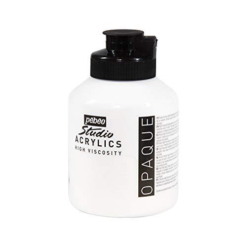 Pébéo - Acrylique Fine Studio Acrylics - Peinture Acrylique Blanche - Acrylique Blanc - Blanc de Titane 500 ml