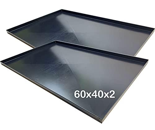 Teglie forno 60x40x2 Cm, bordo 2 cm con diagonale 2 PEZZI Spessore teglie 8/10 Pizza alta idratazione ideale per professionisti della pizza focaccia