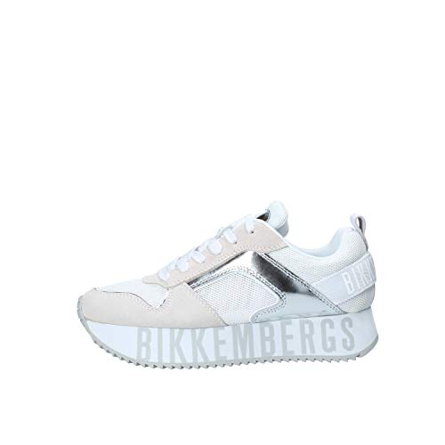 Bikkembergs Damen-Schuhe Art B4BKW0096 White Silver Farbe Foto Größe wählbar, Silber - silber / schwarz - Größe: 40 EU