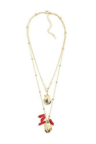 Lizas Halskette kurz mit Muscheln verschiedene Modelle (gold/rot)