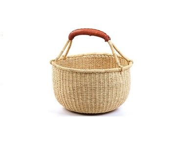 Hands Craft Fair Trade Ghana Bolga African Dye-Free Market Basket Natural Baskets (9'-11' Small)