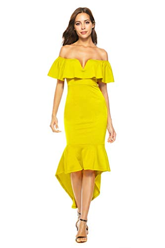 GRASWE Mermaid Dress for Women Off The Shoulder High Low Sexy Fashion Banquet Dress Yellow XL