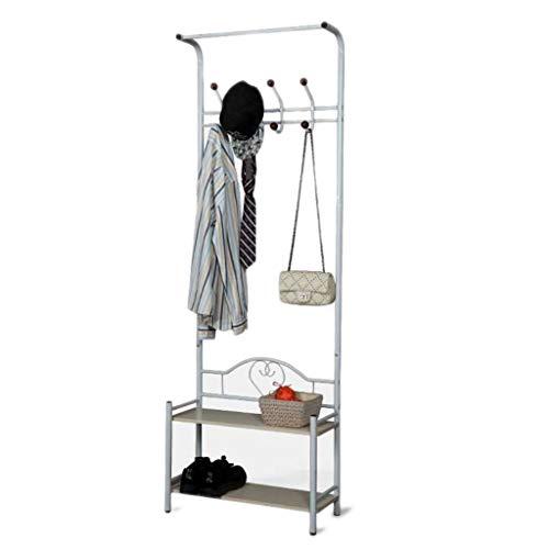 LICHUAN Perchero de metal con 18 ganchos para ropa con 2 niveles para zapatos, estantes para pasillo y árbol, organizador para entrada (blanco) fácil montaje