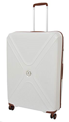 Large Size Check-in Luggage 4 Wheel Hard Shell Suitcase TSA Lock Travel Bag HLG480 White