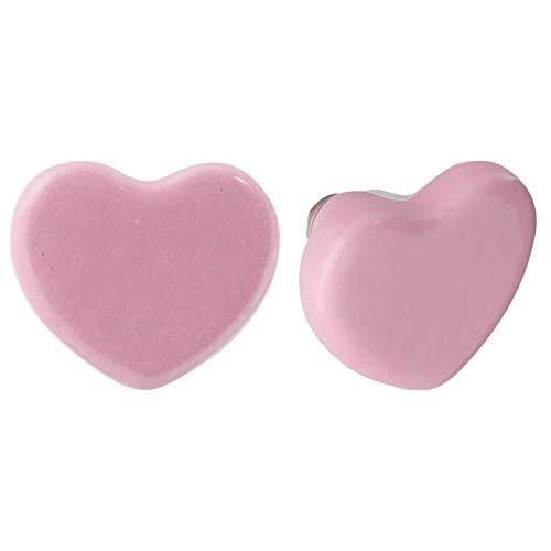 Nicola Spring Pomello per cassetto - in Ceramica con Design a Cuore - Rosa - 6 Pezzi