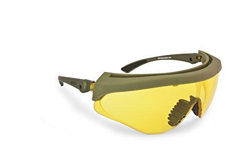 BERTONI Gafas Protectoras Balisticas de Tiro Polígono Caza Softair - Lente 2.8mm Anti-Vaho - Inclinaciòn de la Lente Ajustable - AF869 Italy (Lente Amarilla)