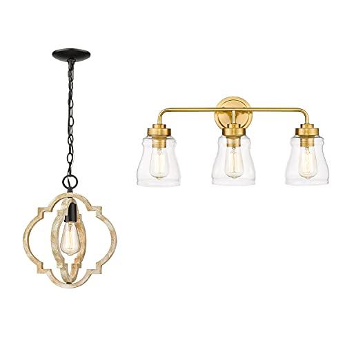 CALDION Indoor Light Sets, Set of 2 Matching Bundle, Pendant Light & Vanity Light, 6808PL-GW, 2695VL-BG-3
