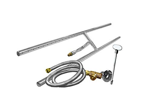 1 Set of H-Shaped Stainless Steel Gas Fire Pit Burner Kit, 36' x 6', Natural Gas