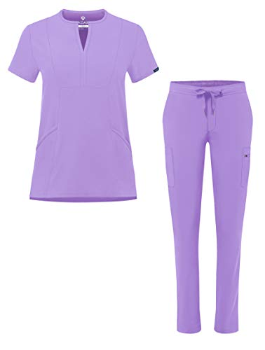 Adar Addition Go-Higher Scrub Set for Women - Notched V-Neck Scrub Top & Skinny Cargo Scrub Pants - A9600 - Lavender - M