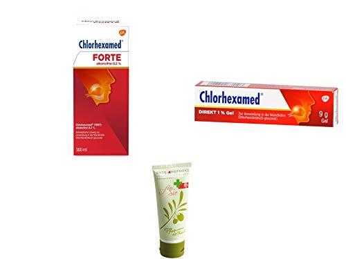 Chlorhexamed Sparset - Chlorhexamed Forte Alkoholfrei 0,2% 300 ml & Chlorhexamed Direkt 1% Gel 9 g Inkl. GRATIS Rats-Apotheke Olivenöl Pflegecreme