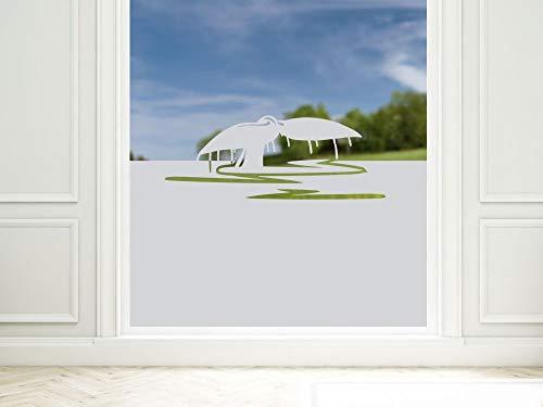 GRAZDesign Sichtschutzfolie Bad Meer Wal Maritim, Fensterfolie als Sichtschutz, Dusche Glastür, 57cm hoch / 90x57cm