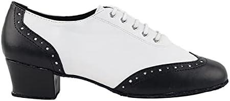 Very Fine Ladies Ballroom Salsa Latin Practice Dance Shoes C6035 & 2008 Black & White Leather Low Heel Comfortable