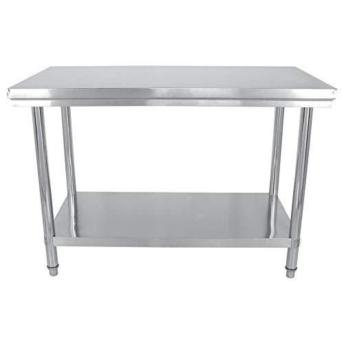 Mesa de Trabajo de Catering Comercial de Acero Inoxidable para Restaurante Bar Hogar Cocina Lavandería Garaje y Cuarto de Servicio (120x85x60 cm)