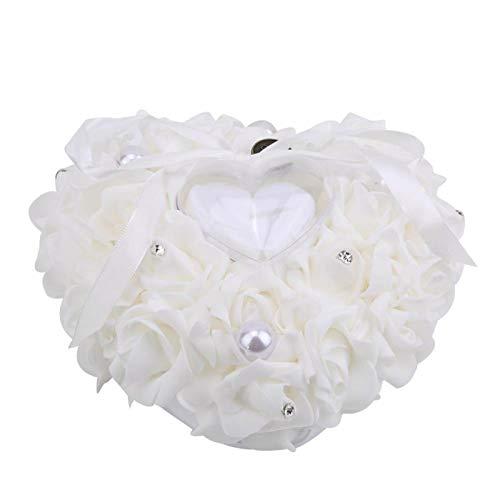Omabeta Anillo Caja Almohada Joyería Almohada Regalo Cojín Burbuja Cosido a Mano Romántico para Pendiente para(White)