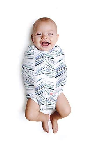 embé 2-Way Starter Swaddle Blanket, 6-14 lbs, Diaper Change w/o Unswaddling, Legs in and Out Design, Warm Up or Cool Down 100% Cotton, 0-3 Months (Angle Stripe)