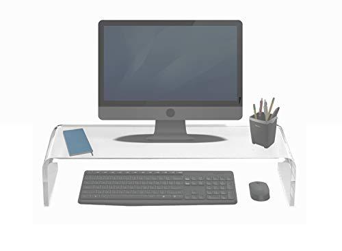 Soporte de Monitor, Pantalla de TV, Portátil - 55x23cm - Elevación de 12cm - Metacrilato Transparente - Resistente hasta 40 kg