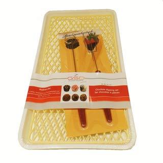 Pralinenset 4 teilig Pralinengitter mit Tablett und Pralinenbesteck Pralinenzubehör, Kunststoff Edelstahl, ca. 32.5 x 17.5 x 2.5 cm, weiß gelb