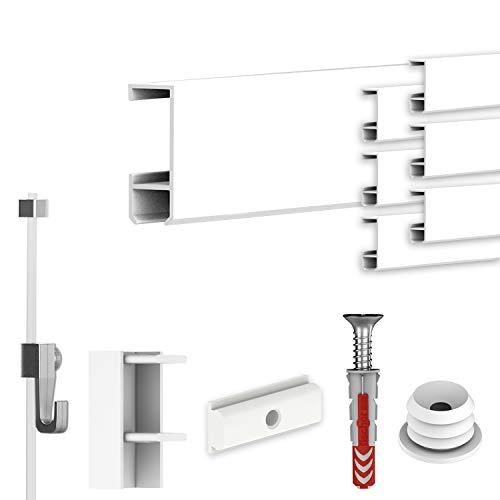 hang-it Komplettset - Galerieleisten Bilderleisten - 14 Meter inkl. Bilderhaken, Seile und Montagematerial