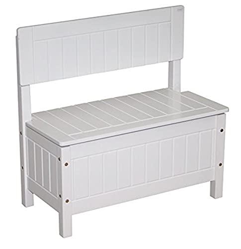 Baul juguetero roba, banco para niños, mueble infantil para sentarse y guardar juguetes, blanco.