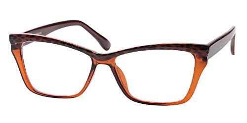 SOOLALA Womens Tea Pattern Cat Eye Reading Glasses Quality Eye Glass Frame, Tea, 2.5
