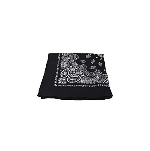 YZLSM Pañuelos de algodón de Paisley Vendas Vaquero Bandana Pañuelos Pañuelo Cuadrado para Hombres y Mujeres (Negro)