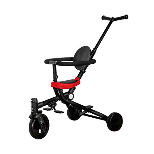 Driewieler van de baby Aluminium Opvouwbare Draagbare multifunctionele kinderwagen met Rotating Wheel Yellow 23,6 × 20 × 33.46 Inch (Color : Red, Size : 23.6 * 20 * 33.46 In)