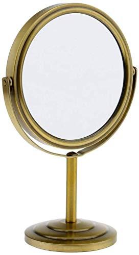 LYMUP Espejo para el hogar, espejo de mesa 2 en 1, espejo compacto normal, 360 grados, espejo de tocador para baño ampliado (color: bronce, tamaño: como se describe)