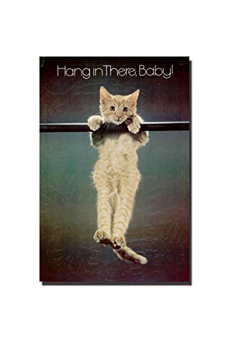 """POSTERFORHOME Hang in There Wall Poster Lovely Hang in There Cat Poster Lovely Cat Jumping Poster Decorative for Home 20"""" x 30"""""""