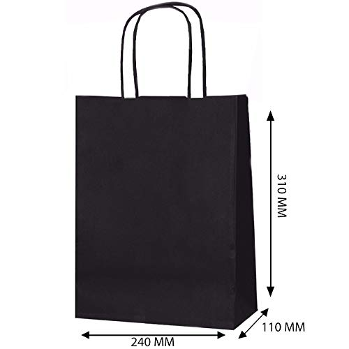 20 Stück, Geschenktüten, Schwarz, Small - Papiertüten mit Kordelhenkel, aus Kraftpapier, als Geschenktüten, in verschiedenen Ausführungen