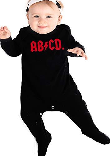 ROCK n ROLL - Pijama de bebé para niños o niñas | inspirado en AB/CD AC/DC – Baby shower, ropa de recién nacido o regalo para nuevos padres | Baby Moo's (6-12 Meses)