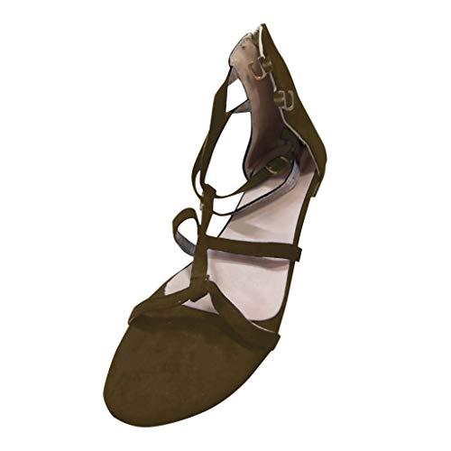 Vovotrade Dames Casual Strappy Sandal Dames Riemjessandalen Romeinse sandalen met platte bodem zwart, beige, legergroen, blauw 35-43