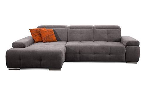 CAVADORE Ecksofa Mistrel mit Longchair XL links / Große Eck-Couch im modernen Design / Inkl. verstellbaren Kopfteilen / Wellenunterfederung / 273 x 77 x 173 / Kati Fango