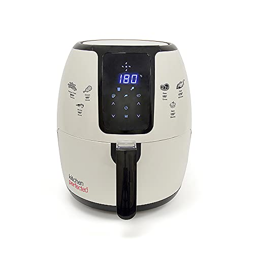 Kitchen Perfected® 4L XL Family Sized Digi-Touch AIRFRYER - Portable Fryer / Grill / Oven / Steamer Uses 80% Less Oil. 1500w Extra Large Power Air Fryer in Cream and Black