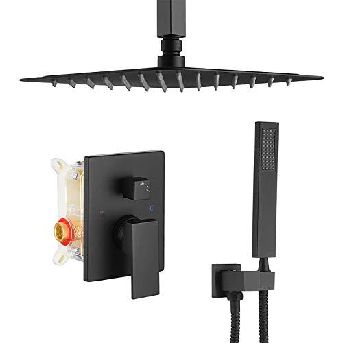 Mezclador de Baño Grifos de Ducha Sistema de Ducha Integrado con Ducha de Lluvia y Cabezal de Ducha Manual con Incluida la Válvula de Control