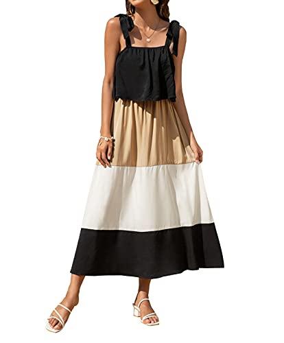 Lanven Vestido casual de verano para mujer, con costuras en contraste, espalda abierta, sexy, para playa, para verano
