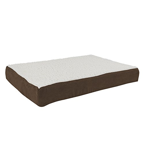 PETMAKER Orthopedic Sherpa Top Pet Bed with Memory Foam and Removable Cover 30x20.5x4 Brown by