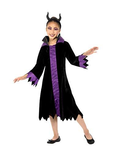 Smiffys 49704S - Disfraz de reina malvada para niña, color negro y morado, talla S a partir de 4 a 6 años