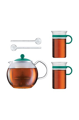 Bodum Teeset Assam - 5-teilig - 1,0l Teebereiter mit 2 0,3 L Glastassen und 2 Kunststofflöffel - Farbe Smaragd - AK1830-XY-Y16-3